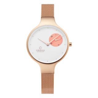 【OBAKU】摩登女性奢華腕錶-玫瑰金(V201LDVWMV-O)