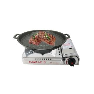 【卡旺】雙安全卡式爐+雙用圓烤盤(K1-A005D+NY2499)
