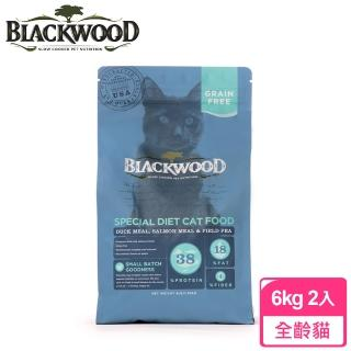 【BLACKWOOD 柏萊富】特調無穀全齡貓配方-13.23磅*2入(鴨肉+鮭魚+豌豆)