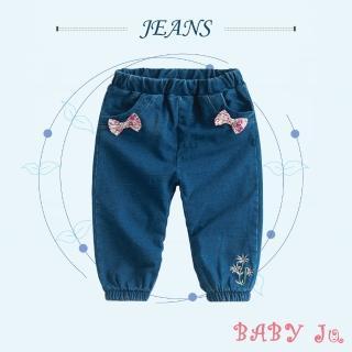 【BABY Ju 寶貝啾】蝴蝶結繡花牛仔褲(藍色)