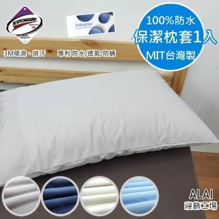 【ALAI寢飾工場】台灣製100%防水防汙保潔枕套1入(吸濕排汗