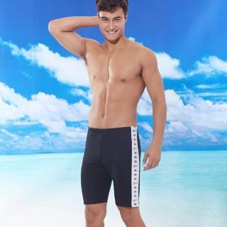 【TiNyHouSe 小的舖子】男四角泳褲長版黑素色白邊(T-916黑色)