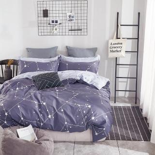 【Pure One】台灣製 100%純棉 - 雙人床包被套四件組 - 北極星