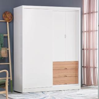 【AS】伊森5尺雙色推門衣櫃-151x60x200cm