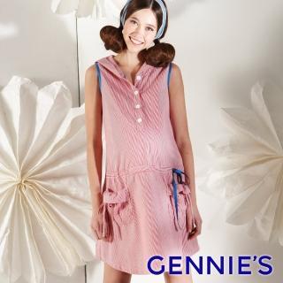【Gennies 奇妮】甜美女孩細條紋連帽無袖洋裝(紅/黑綠灰G1109)