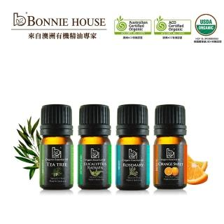 【Bonnie House】頂級雙有機精油入門組_尤加利5ml+茶樹5ml+薰衣草5ml+迷迭香5ml