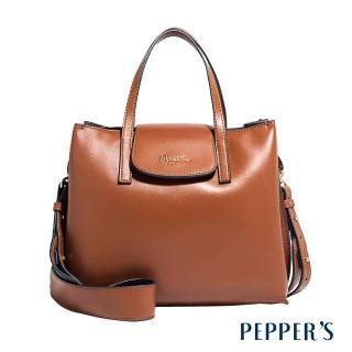 【PEPPER'S】Norah 牛皮方塊手提包(焦糖棕)