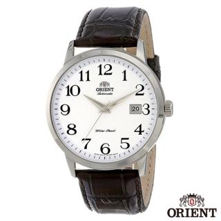 【ORIENT 東方錶】DATE清楚數字時標自動上鍊機械腕錶-白面銀框x41mm(FER27008W0)