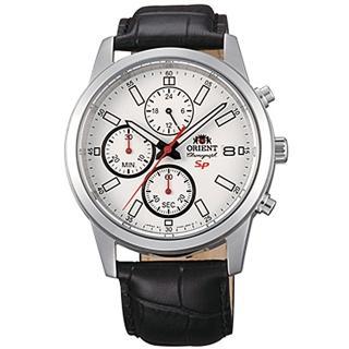 【ORIENT 東方錶】SP系列 透徹時光三眼計時運動石英腕錶皮帶-白x42mm(FKU00006W0)
