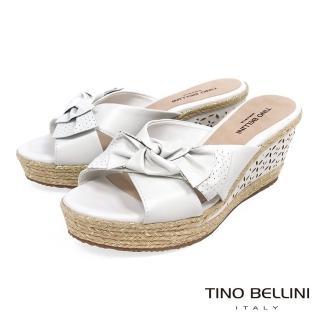 【TINO BELLINI 貝里尼】巴西進口雙層紐結皮雕楔型涼拖鞋A83056(白)