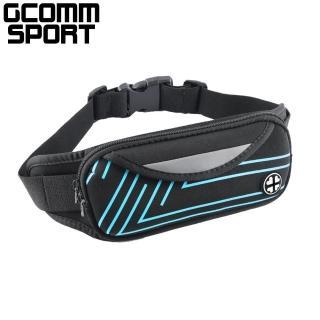 【GCOMM】GCOMM SPORT 雙袋防汗水音樂運動腰包 直條藍(運動腰包)