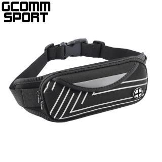 【GCOMM】GCOMM SPORT 雙袋防汗水音樂運動腰包 直條銀(運動腰包)