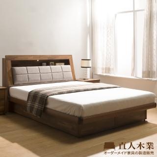 【直人木業】KELT積層木單層收納6尺附插座掀床組