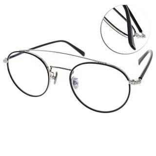 【NINE ACCORD 眼鏡】雙槓圓框復古款(黑-銀#PLACO-OLIVER C04)