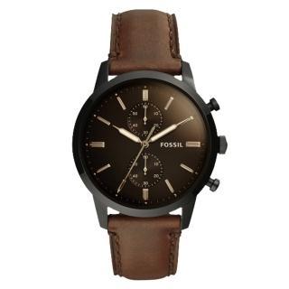 【FOSSIL】都會三眼計時男錶 深棕色錶面 防水50米(FS5437)