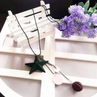 【梨花HaNA】韓國歡樂百搭木質五角星流線垂墜毛衣鍊項鍊