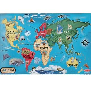 【Melissa & Doug 瑪莉莎】地板拼圖-世界地圖 益智遊戲 空間方位(益智成長 邏輯建構 原裝進口)