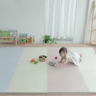 【Pato.Pato】嬰幼兒專用馬卡龍64*64*3cm加厚雙色巧拼地墊三款任選(一包4片附贈8個邊條)