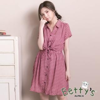 【betty's 貝蒂思】美式格紋腰間綁結雪紡洋裝(紅色)