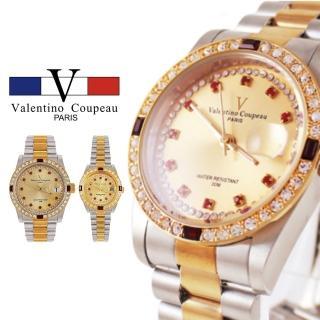 【Valentino Coupeau】范倫鐵諾 古柏 四方紅鑽內紅鑽金銀不鏽鋼殼帶防水手錶(兩款)