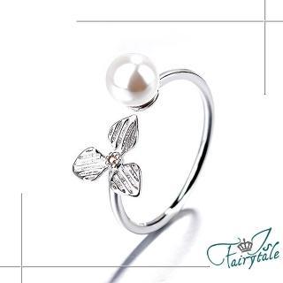 【伊飾童話】三色堇珍珠*亮麗白銀銅電鍍開口戒指