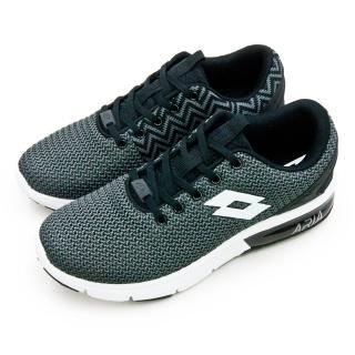 【LOTTO】男 編織緩震氣墊慢跑鞋 ARIA CHINO 系列(黑灰白 6580)
