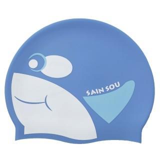 【聖手牌】虎鯨造型矽膠泳帽(水藍)