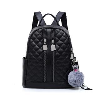 【I FUN】日式學院風格純色菱格雙肩包(後背包 旅行包)