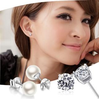 【GIUMKA】純銀 925純銀  貝珠/擬真鑽耳環  韓劇太陽的後裔相似款 一對價格 PF00002(珍珠/擬真鑽 任選一對)