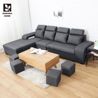 【多瓦娜】都柏林貓抓皮L型沙發/附贈小椅凳