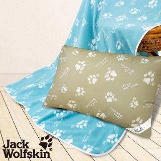 【Jack wolfskin 飛狼】2019 暖冬超值組(抗菌枕、藍綠四季毯)