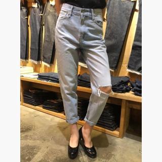 【LEVIS】復古高腰寬鬆版牛仔長褲 / Mom Jeans / 刷破