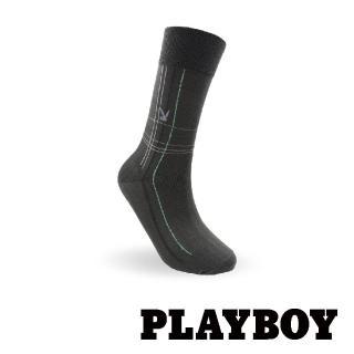 【PLAYBOY】絲光格紋紳士襪-深灰(紳士襪)