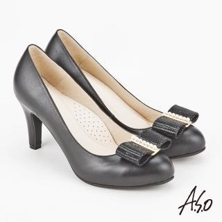 【A.S.O 阿瘦集團】雅緻魅力 時尚流行經典蝴蝶結高跟鞋(黑色)