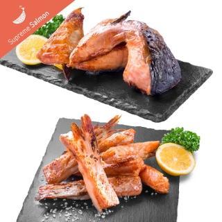 【美威鮭魚】BBQ系列四入組(精選鮭魚厚切下巴排-薄鹽口味*2+精選鮭魚肚條-薄鹽口味*2)