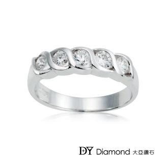 【DY Diamond 大亞鑽石】18K金 時尚造型鑽石線戒