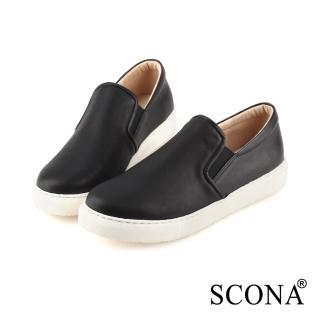 【SCONA 蘇格南】全真皮 簡約舒適厚底樂福鞋(黑色 7290-1)