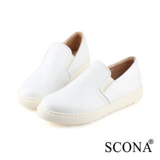 【SCONA 蘇格南】全真皮 簡約舒適厚底樂福鞋(白色 7290-2)