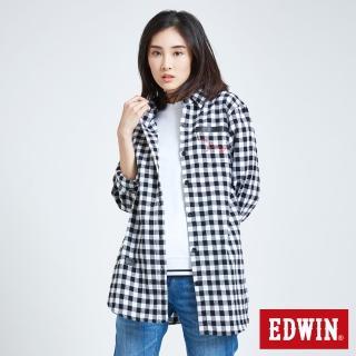 【EDWIN】英式格紋襯衫-女款(白色)