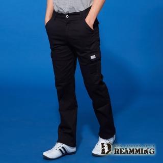 【Dreamming】時尚風潮布標伸縮休閒工作長褲(黑色)