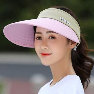 【活力揚邑】寬大帽檐防曬可捲收抗UV空頂遮陽帽(粉)