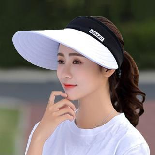 【活力揚邑】寬大帽檐防曬可捲收抗UV空頂遮陽帽(白)