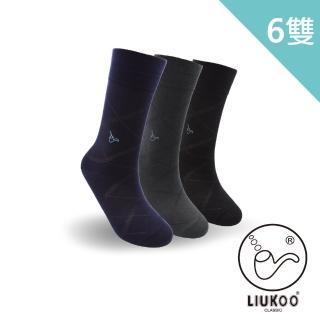~LIUKOO 煙斗~格紋絲光刺繡紳士襪~6入組 紳士襪