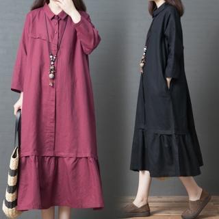【A.Cheter】韓國舒適藝術剪裁襯衫領荷葉下襬麻棉寬鬆洋裝102912*#(2色)