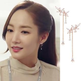 【梨花HaNA】韓國925銀金秘書為何那樣皓石垂綴花晶耳環