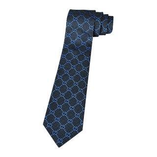 【GUCCI 古馳】經典緹花標誌蠶絲菱格紋設計領帶(海軍藍)
