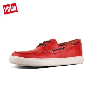 【FitFlop】LAWRENCE LEATHER BOAT SHOES(紅褐色)