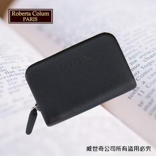 【Roberta Colum】諾貝達男用皮夾 卡片夾 專櫃進口軟牛皮短夾(24011-1黑色)