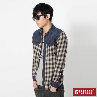 【5th STREET】男格子配色長袖襯衫-黑色