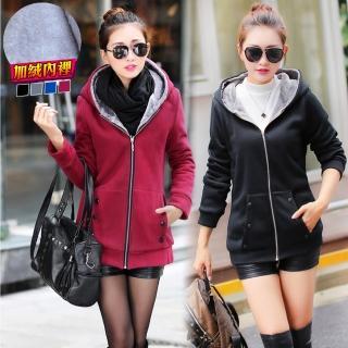 【NEW POWER】保暖絨毛女棉質連帽外套-4色可選(偏小碼/加絨內裡/修身保暖)